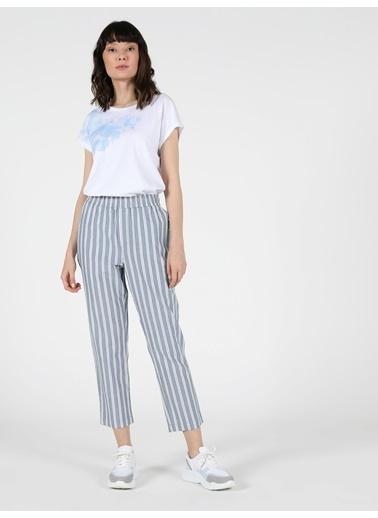 Colin's Colin'S Regular Fit Düz Paça Yüksek Bel 3 Cepkadın   Çizgili Kadın Pantolon Mavi